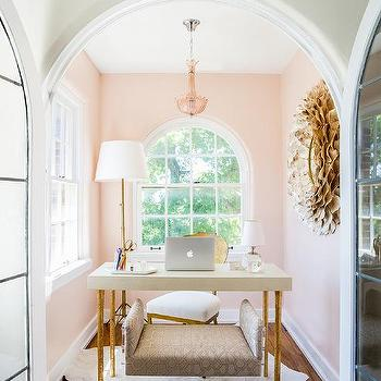 office french doors. Pink Home Office With Arched French Doors
