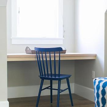Elegant Attic Playroom Nook Desk With Blue Windsor Chair