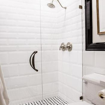 Mixed size beveled shower tiles design ideas black and white walk in shower with glossy white beveled tiles sisterspd