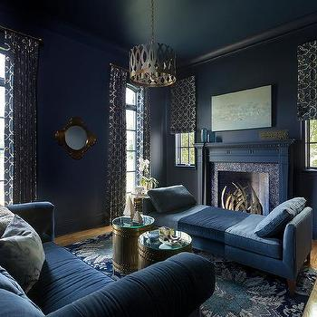 Dark Blue Living Room With Blue Linen Chaise Lounge Part 45