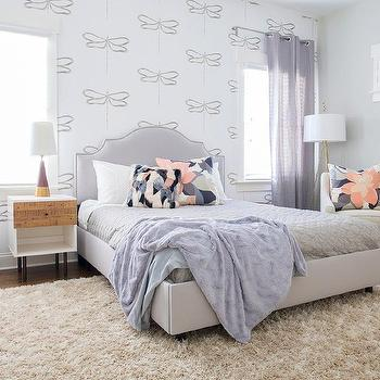 Lilac Girl Bedroom With Dragonfly Wallpaper