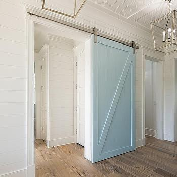 Powder Blue Barn Door On Rails