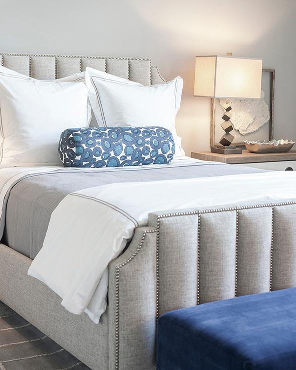 Platinum Gray Art Deco Bed With Blue Bench Transitional