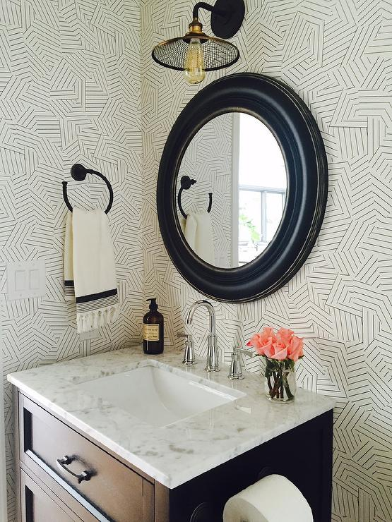 Chic Powder Room With Black And White Deconstructed Stripe Wallpaper