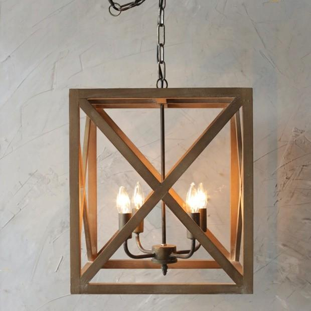 Square Wire Lattice Geo Semi Flush Pendant 4 Lt Shades