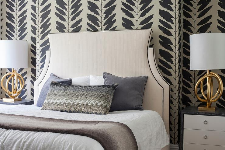 Tan and black bedroom with gold knot lamps transitional for Black bedroom wallpaper