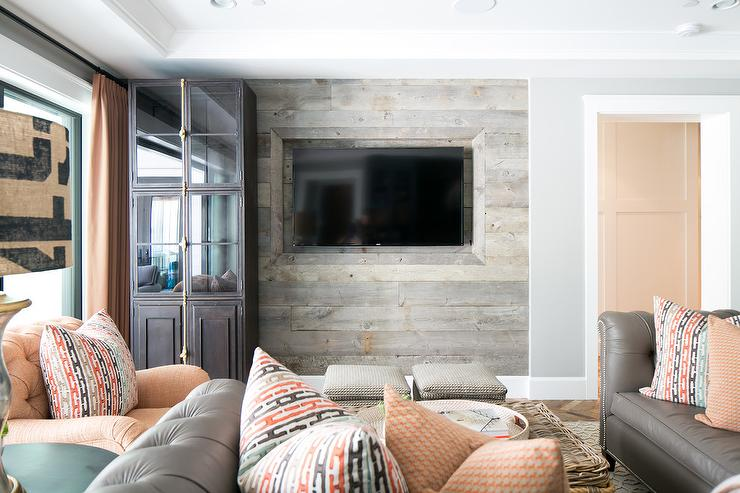 Taupe And Orange Living Room With Barn Board Tv Wall