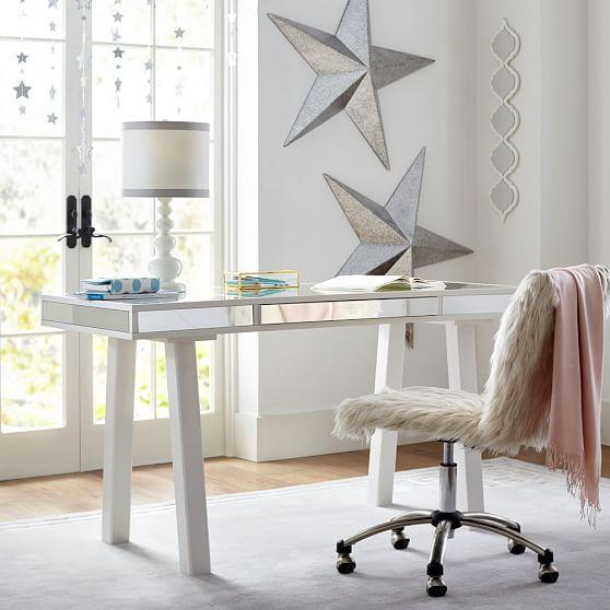 White Framed Mirrored Drawers Desk