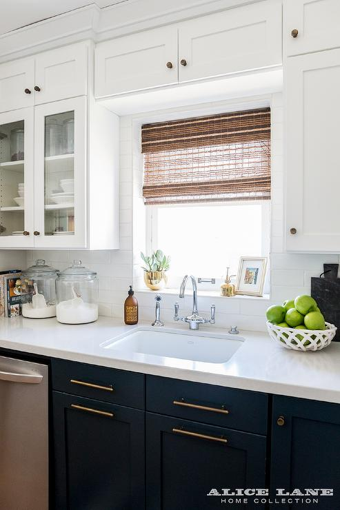 navy blue shaker cabinets with farmhouse sink transitional kitchen. Black Bedroom Furniture Sets. Home Design Ideas