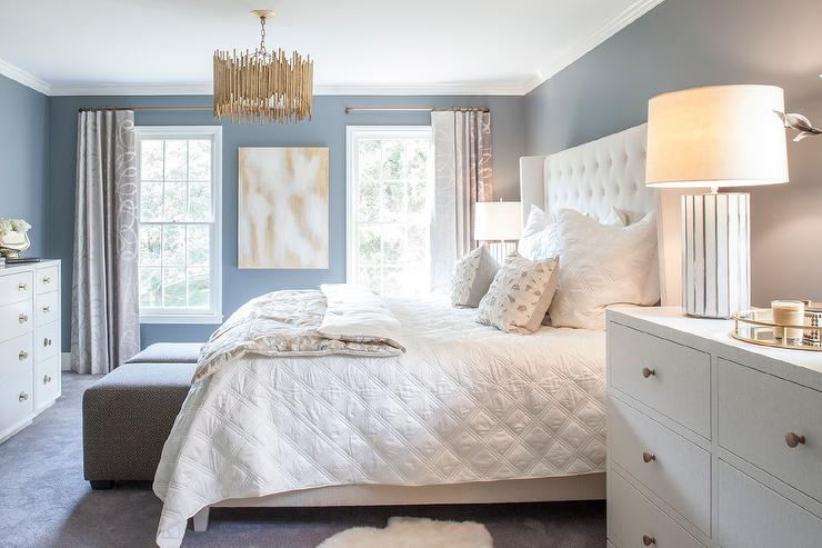 White and Blue Bedroom with White Tall Dresser as Nightstand