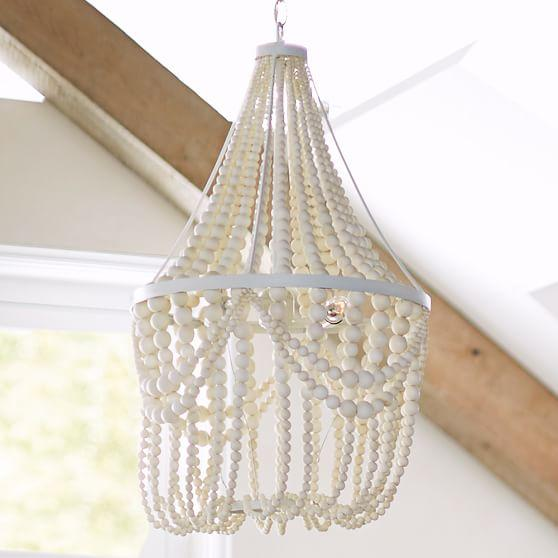 wood beaded corinne chandelier in brown