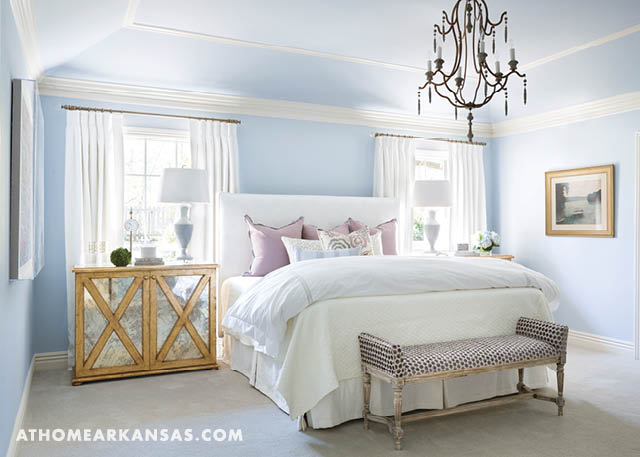 light blue bedroom. White and Blue Bedroom with Gold Leaf Mirrored Nightstands
