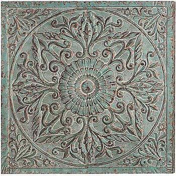 Distressed medallion metal wall art