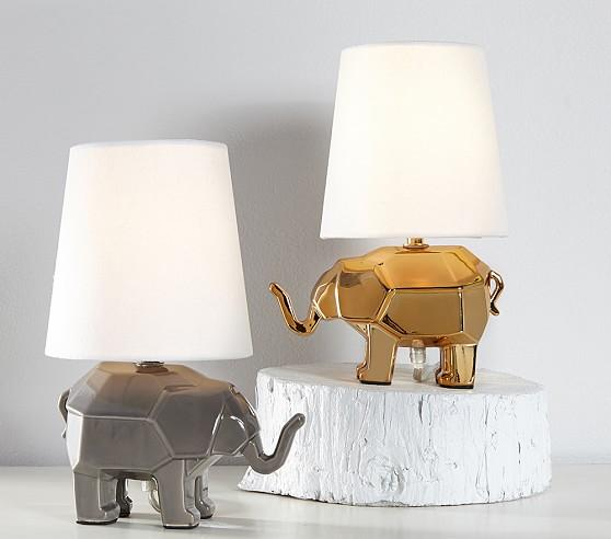 Brand new Gold and SIlver Mini Faceted Elephant Lamps TG37