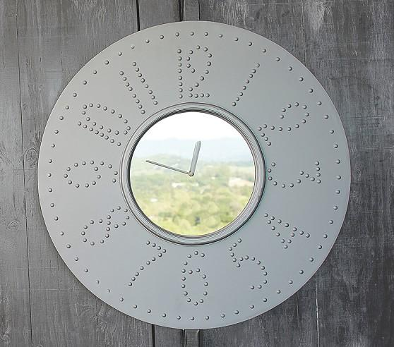 Silver Rivet Mirror Clock