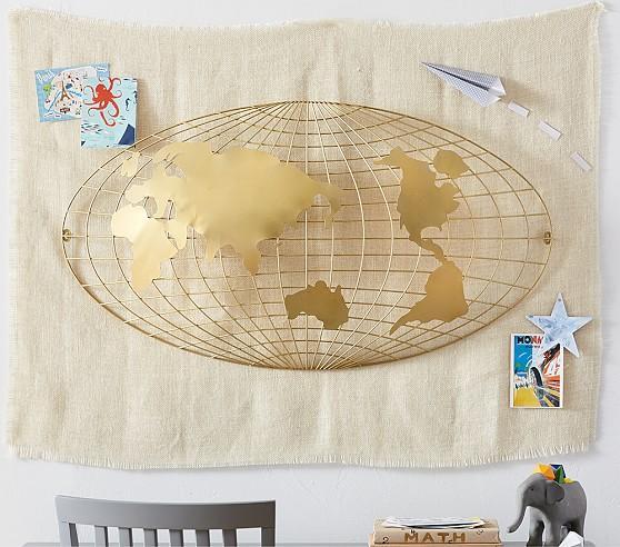 Gold 3D Map Wall Decor