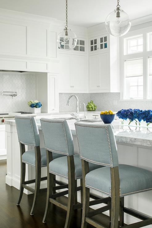 powder blue upholstered bar stools design ideas