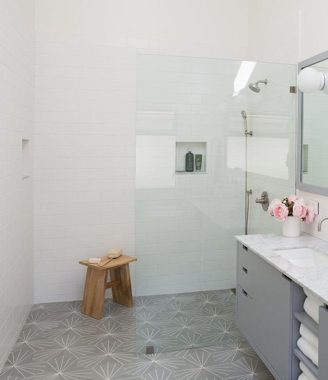 white and gray master bath with cement tile shop starburst hex natural gray