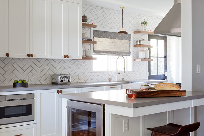 White Herringbone Kitchen Backsplash Tiles With Gray Grout