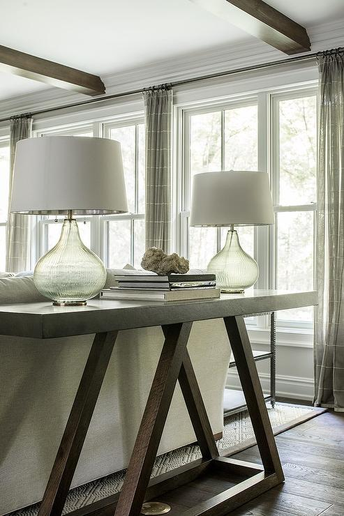 Dark Brown Sofa Table With Gray Glass Lamps Transitional