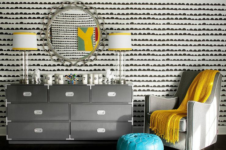 Gray Boy Nursery With Yellow Accents Contemporary