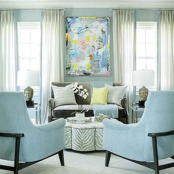 Gray And Blue Living Room With Zebra Ottoman Coffee Table