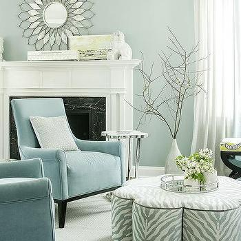 Gray And Blue Living Room With Gray Zebra Ottoman Coffee