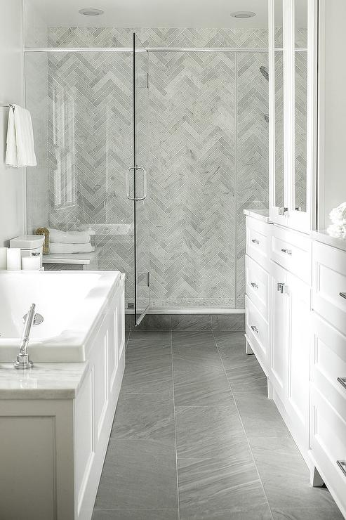 Charmant White And Gray Bathroom With Gray Marble Herringbone Shower Tiles
