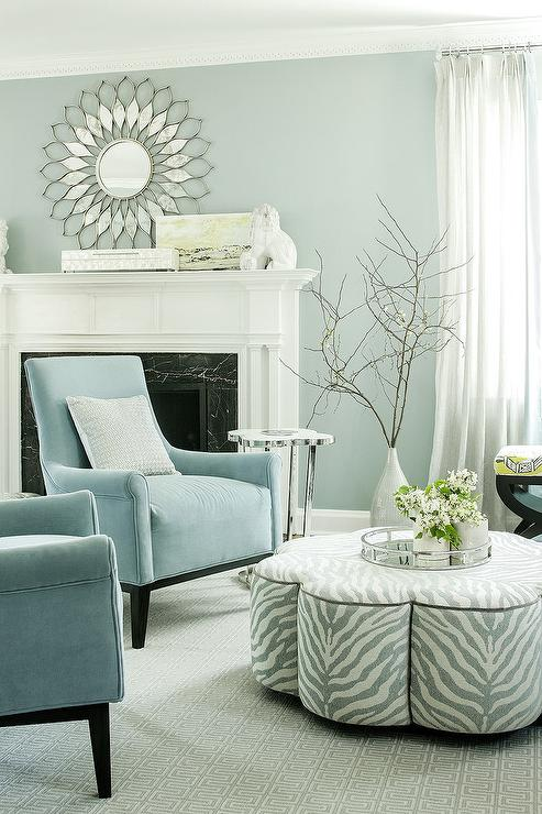 Powder Blue Velvet Accent Chairs With Gray Clover Ottoman Cocktail