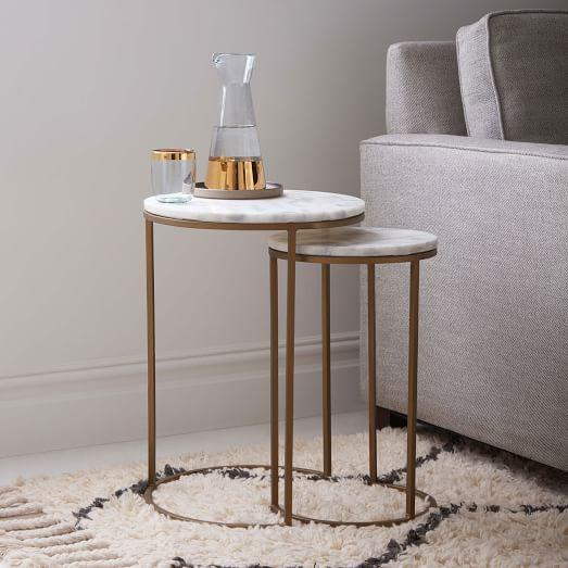 marble round nesting side tables