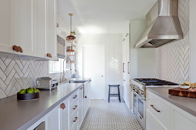 Small Galley Kitchen White Cabinets And Gray Subway Tile