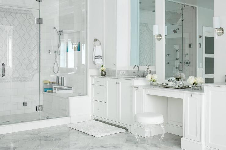 White And Gray Master Bath With Round Lucite Stool