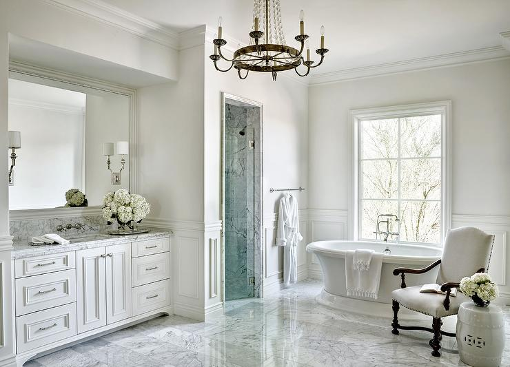 Nickel And Glass Washstand With Marble Top Transitional