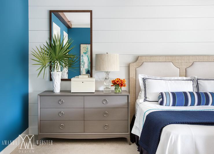blue and gray bedroom with gray dresser as nightstand - cottage Long Night Table