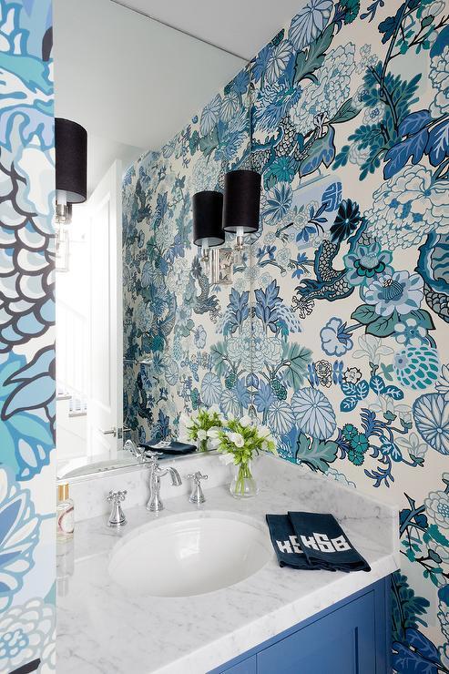 Chiang Mai Dragon Aquamarine Wallpaper Eclectic Bathroom
