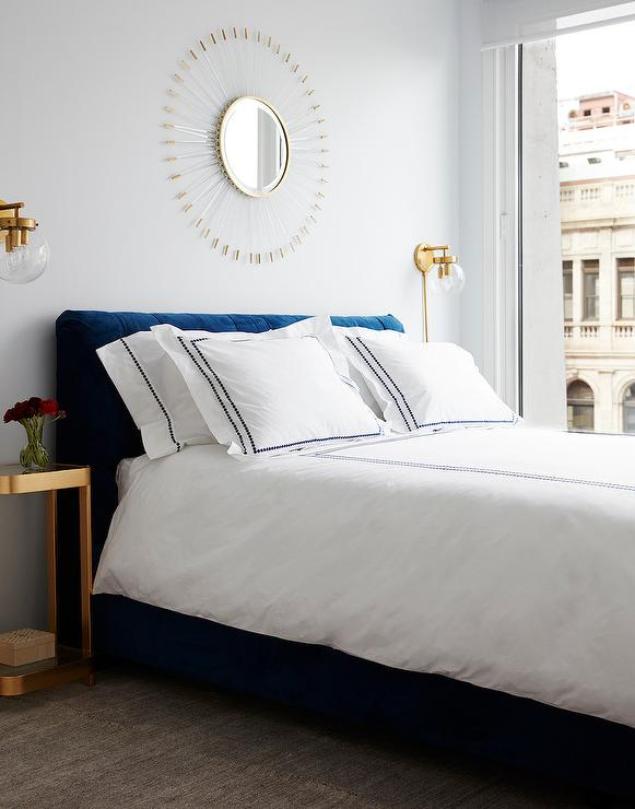 Blue Velvet Tufted Headboard With Gold Nightstands