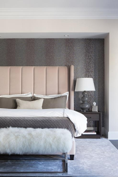Blush Pink Headboard With White And Gray Bedding Transitional Bedroom
