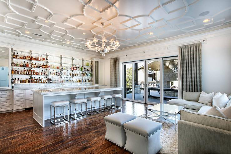 Living Room Wet Bar With Geometric Overlay Panel Ceiling