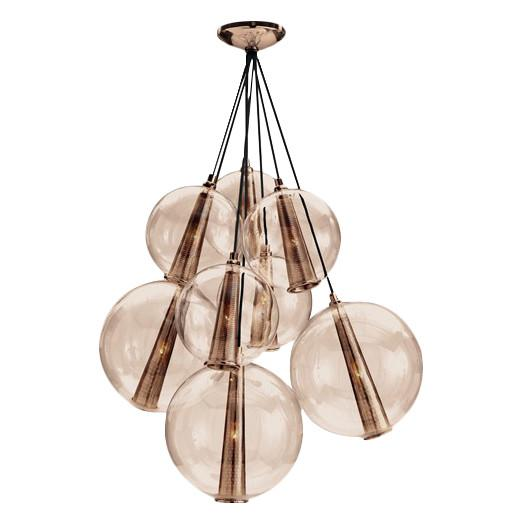 Rose Gold Glass Eight Light Cluster Pendant