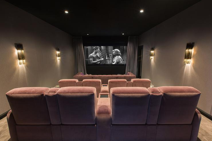 Pink Movie Room with Theatre Seating - Hollywood Regency - Media Room
