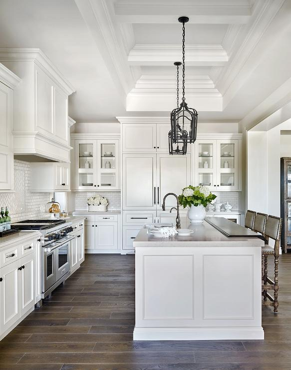 White raised panel kitchen cabinets with white mini subway tile backsplash transitional kitchen - White kitchens pinterest ...