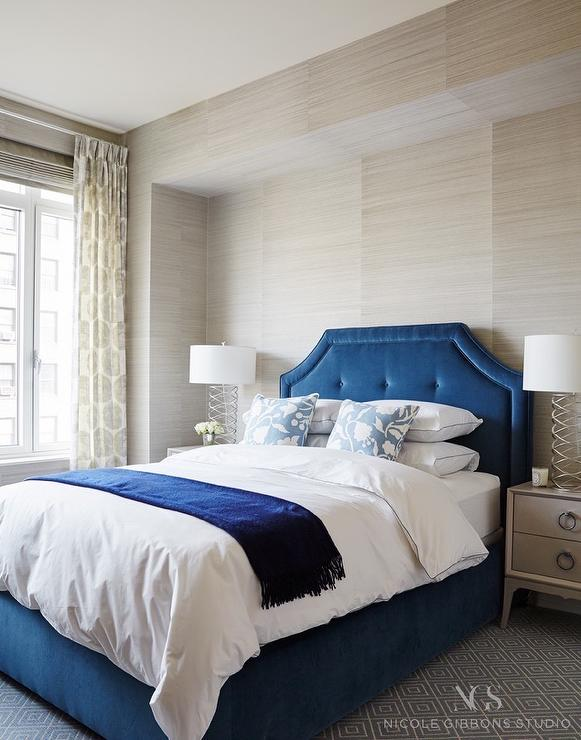 White and blue bedroom with ikat curtains transitional for Blue and taupe bedroom ideas