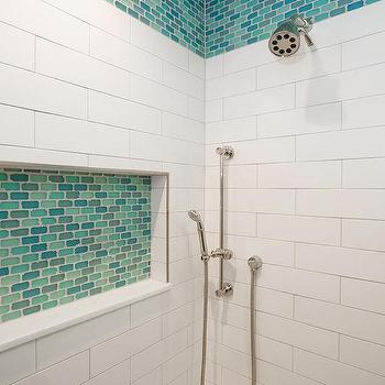 turquoise blue and aqua blue glass shower tiles