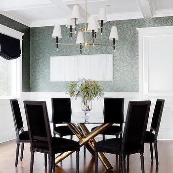 Gold Dining Table With Black Velvet Chairs