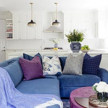 Nice Blue Velvet Sectional With Purple Oval Ottoman Coffee Table View Full Size.  Beautiful Contemporary Living Room ...