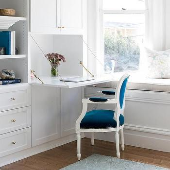 Drop Down Desk With Blue Velvet Louis Chair