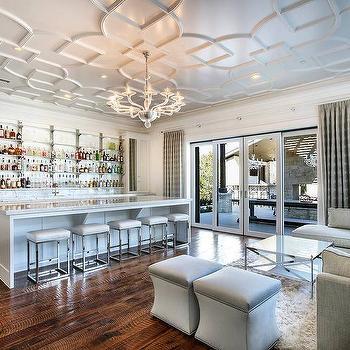 Long glass wet bar shelves contemporary living room for Wet bar in living room