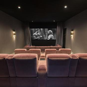 Pink Movie Room With Theatre Seating