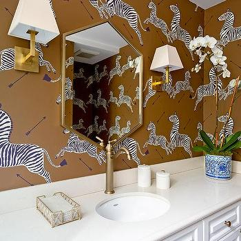 White And Brown Boy Bathroom With Zebra Wallpaper