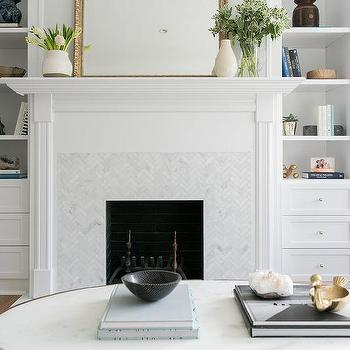 White And Blue Cement Fireplace Tiles Cottage Living Room